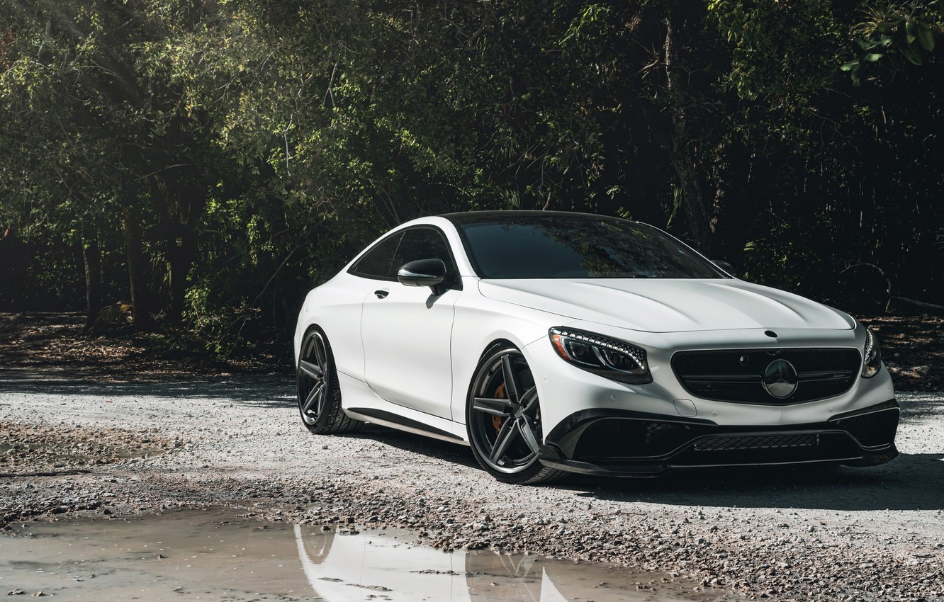 Photo wallpaper Mercedes, AMG, Water, Coupe, White, Forest, S63