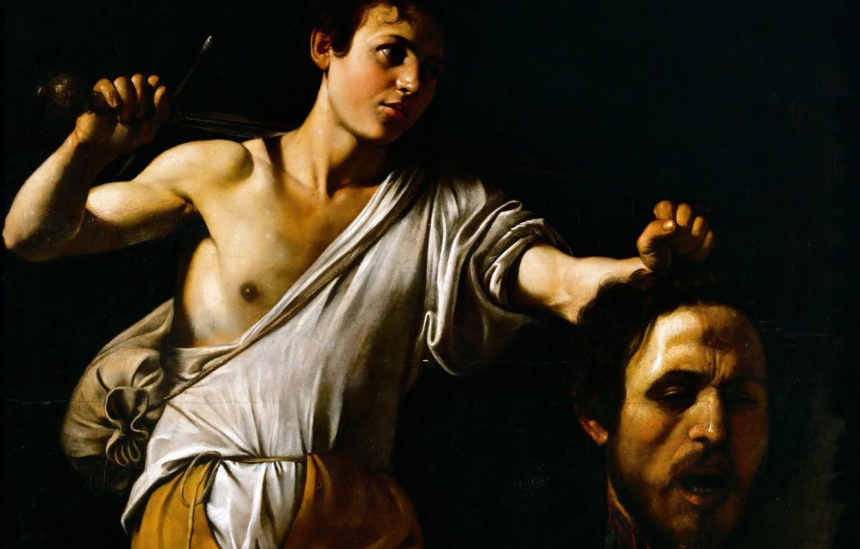 Photo wallpaper picture, mythology, Michelangelo Merisi da Caravaggio, David with Head of Goliath