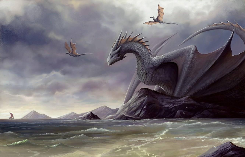 Wallpaper Sea Shore Ship Dragons Being Monsters Horns Images For Desktop Section Fantastika Download