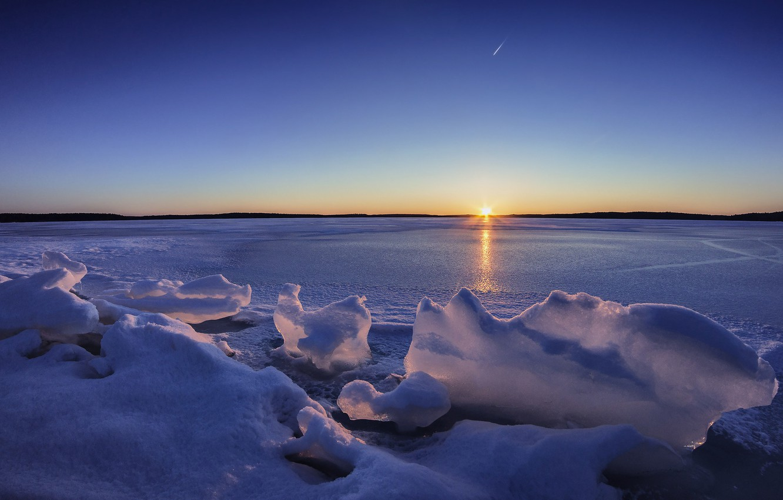 Photo wallpaper winter, sunset, lake, ice, Finland, Finland, Lake Karijärv The
