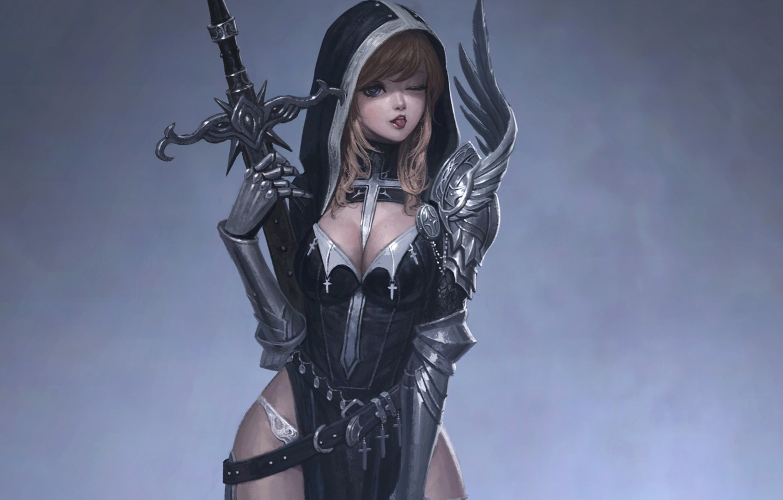 Photo wallpaper language, crosses, sword, armor, hood, neckline, gloves, grey background, wink, the girl-soldier, flirting
