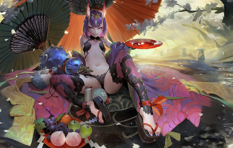 Photo wallpaper girl, anime, art, Luo light Woo, Wine swallow boy