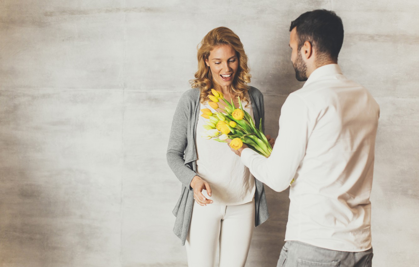 Photo wallpaper joy, flowers, gift, woman, bouquet, yellow, pair, tulips, male, March 8