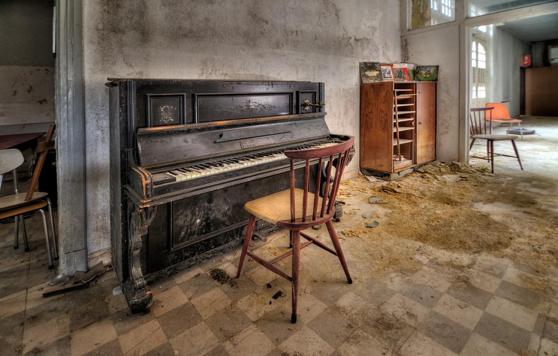 Photo wallpaper room, chair, piano