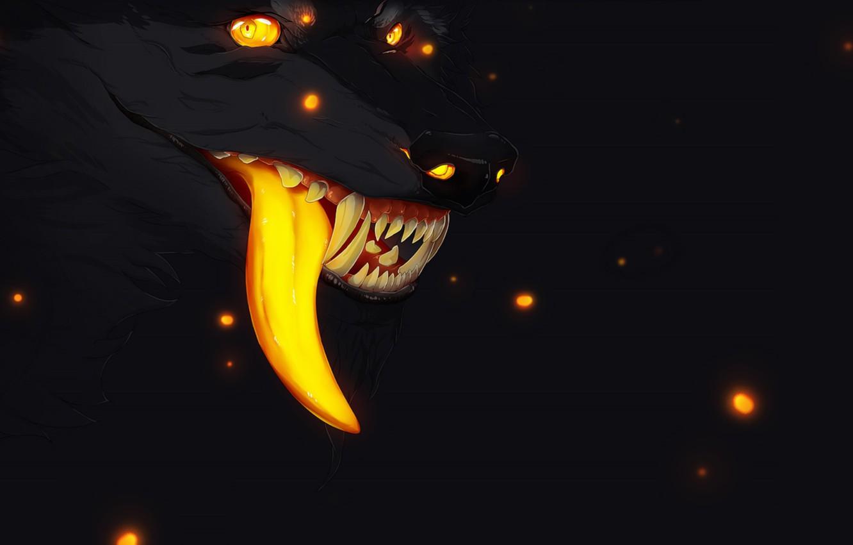 Photo wallpaper fireflies, fear, darkness, wolf, mouth, fangs, werewolf, art, wolf, long tongue, burning eyes, evil eye, …