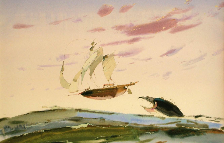 Photo wallpaper ship, shark, sails, ARUSHA VOZMUS