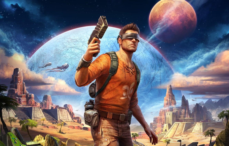 Photo wallpaper stars, gun, fiction, planet, traveler, art, glasses, temple, male, Blaster, visor