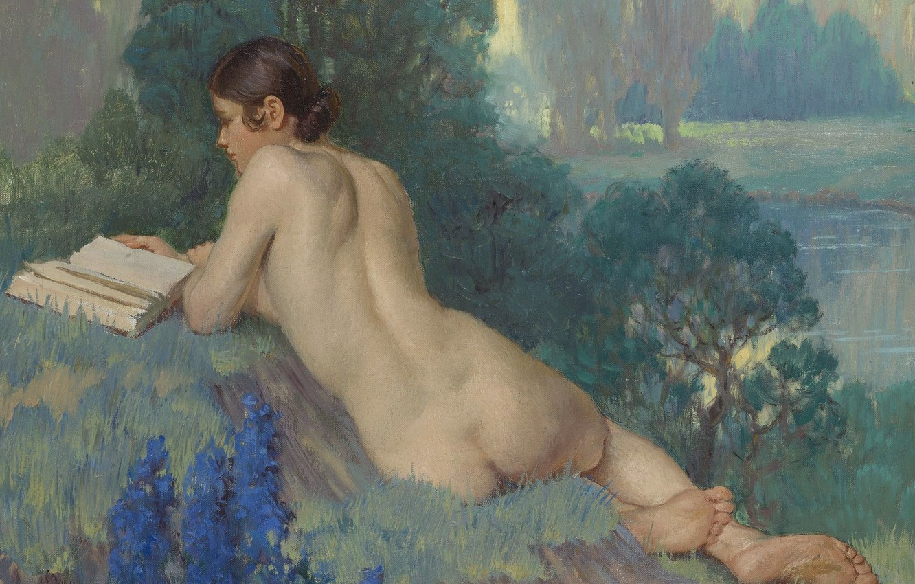 Photo wallpaper erotic, ass, girl, nature, picture, book, Daniel Macmorris, Reading in the Nude