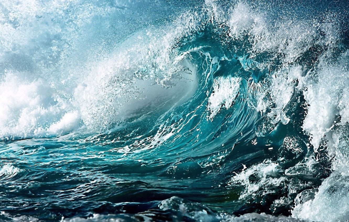 Photo wallpaper sea, foam, squirt, storm, wave, turquoise, squall