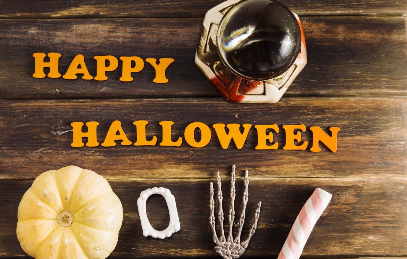 Photo wallpaper holiday, the inscription, skeleton, pumpkin, Halloween