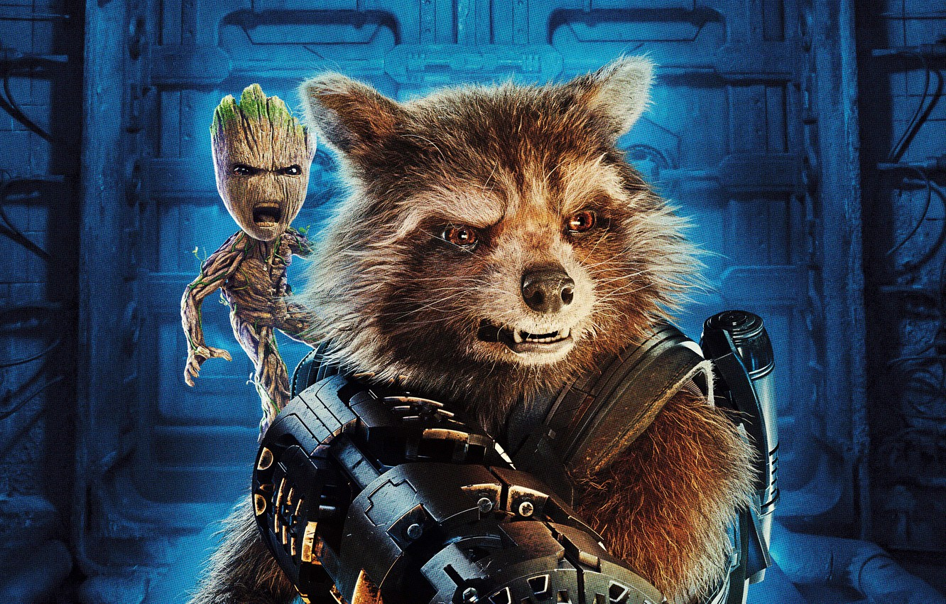 Wallpaper Weapons Fiction Raccoon Poster Rocket Groot