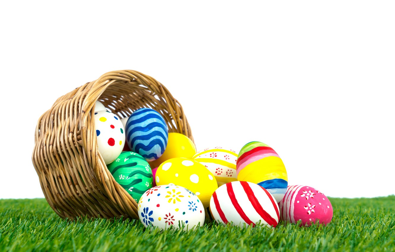 Photo wallpaper holiday, basket, eggs, Easter, weed