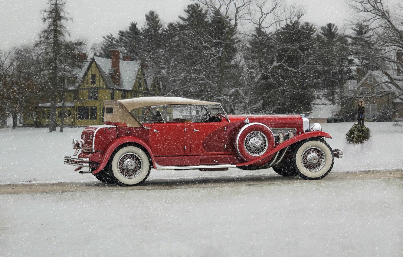 Photo wallpaper winter, snow, retro, classic, Duesenberg, 1932 Duesenberg Model J Phaeton