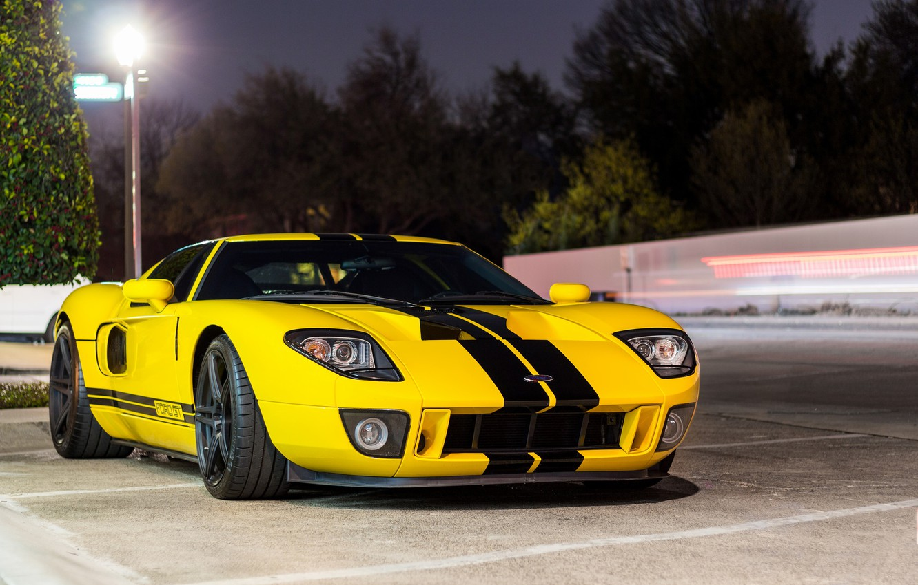 Photo wallpaper Ford, Black, Yellow, GT, Bands
