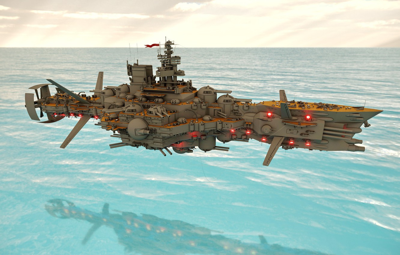 Photo wallpaper sea, weapons, transport, ship, Fly Dreadnought Molotoff