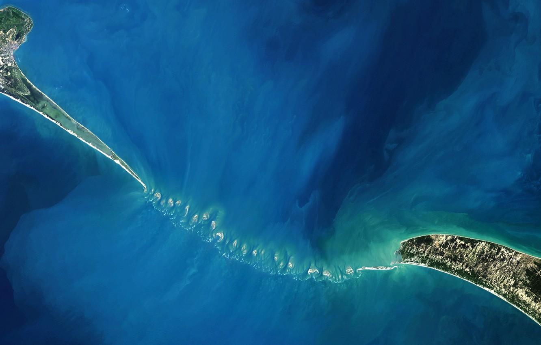 Photo wallpaper Islands, India, shoal, Sri Lanka, photo NASA, Adam Bridge