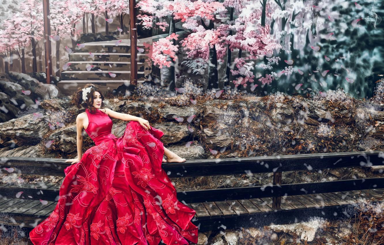 Photo wallpaper girl, mood, photoshop, petals, Sakura, Asian, red dress