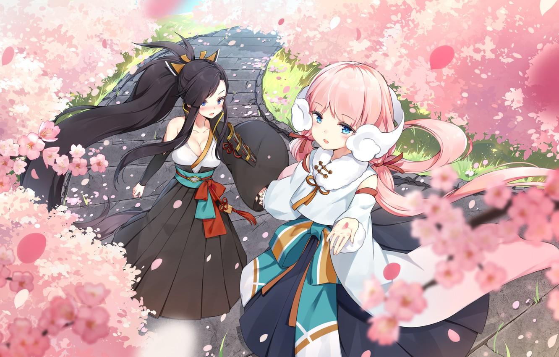 Photo wallpaper Girls, Spring, Sakura