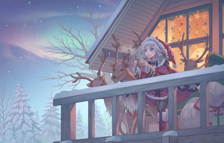 Photo wallpaper house, new year, Christmas, balcony, deer