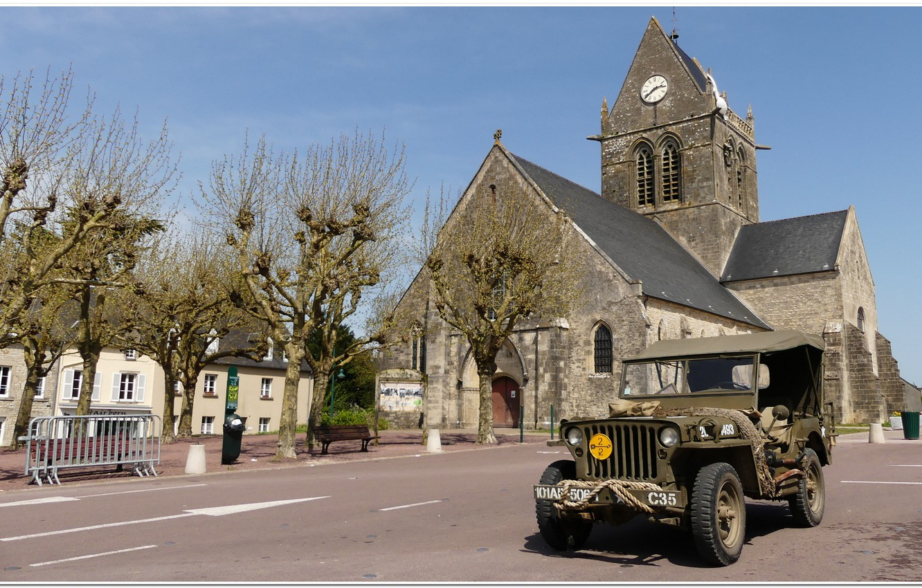 Photo wallpaper jeep, ww2. war, willys, overlord, dday, st mere eglise