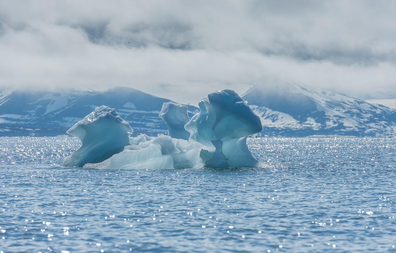 Photo wallpaper cold, sea, snow, landscape, glare, ice, iceberg