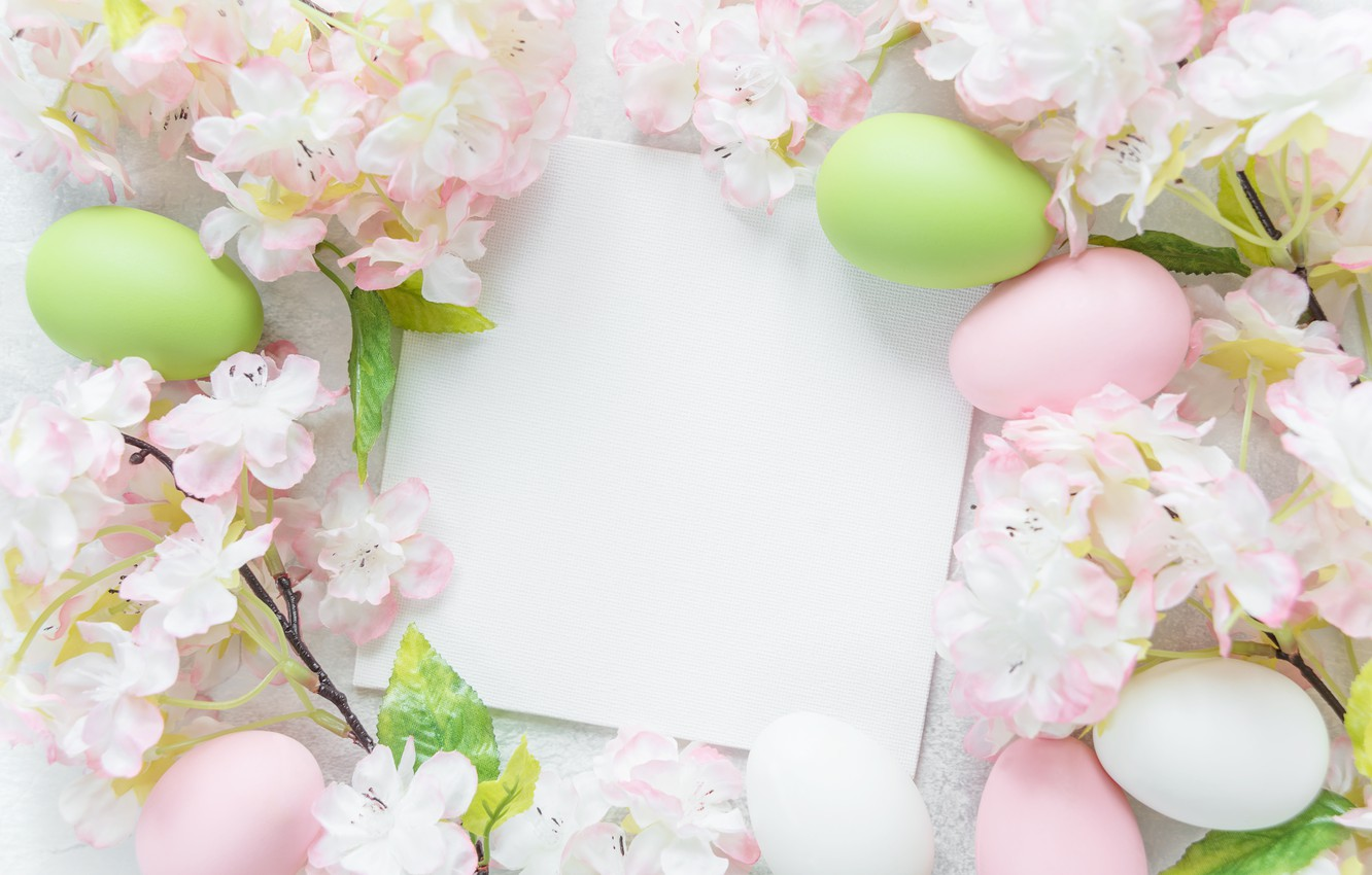 Photo wallpaper flowers, Easter, flowers, spring, Easter, eggs, Happy, the painted eggs