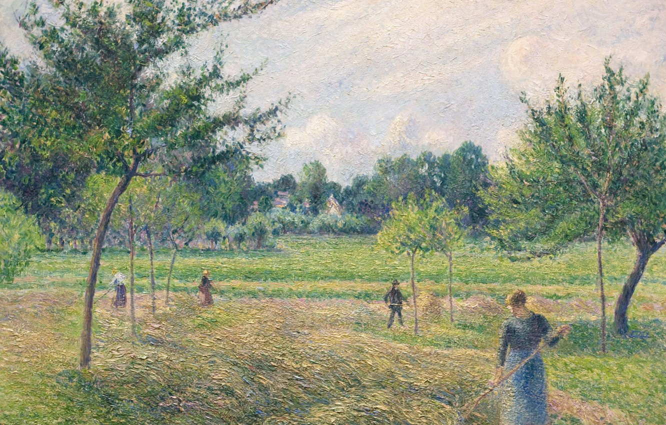 Photo wallpaper landscape, picture, Camille Pissarro, Time Of Haymaking