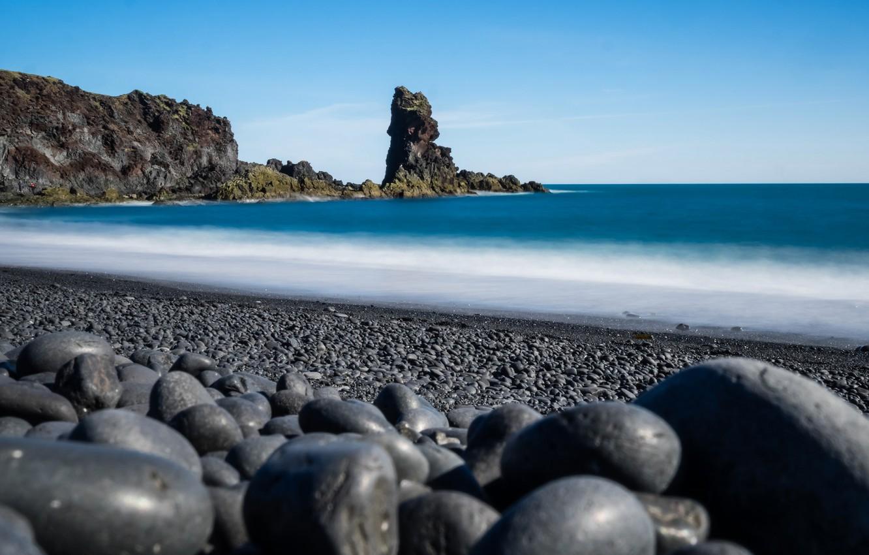 Photo wallpaper sea, stones, rocks, shore, Iceland