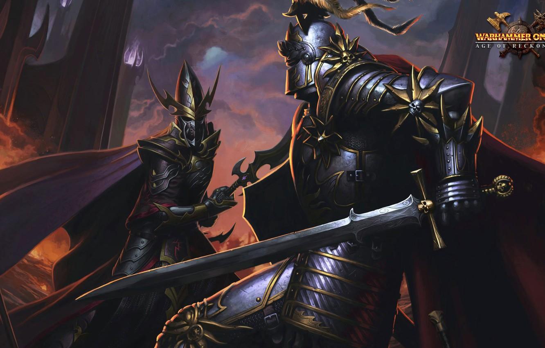 Photo wallpaper sword, Age of Reckoning, armor, dark elf, knight, Warhammer online, helm