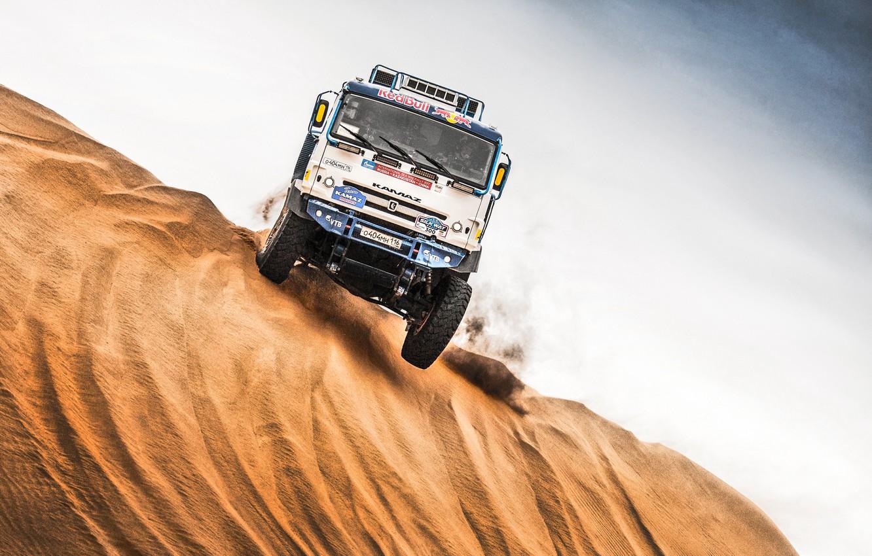 Photo wallpaper The sky, Sand, Nature, Sport, Speed, Truck, Race, Master, Beauty, Russia, Kamaz, Rally, Rally, KAMAZ, …