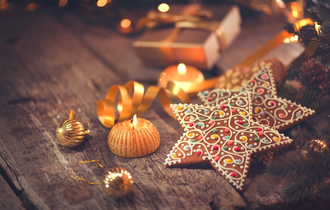 Photo wallpaper New Year, cookies, Christmas, wood, Merry Christmas, cookies, decoration, gingerbread, gingerbread