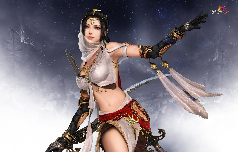 Photo wallpaper girl, the game, assassin, Twilight mountain fly bird °, Gian Vang, Tibetan sword