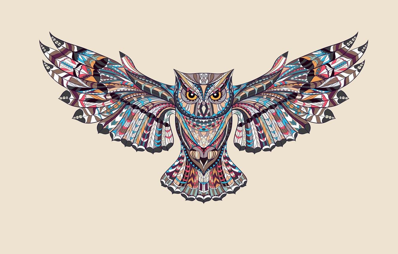 Photo wallpaper owl, bird, paint, wings, light background, owl