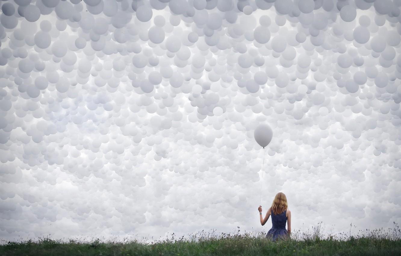 Photo wallpaper the sky, girl, balls