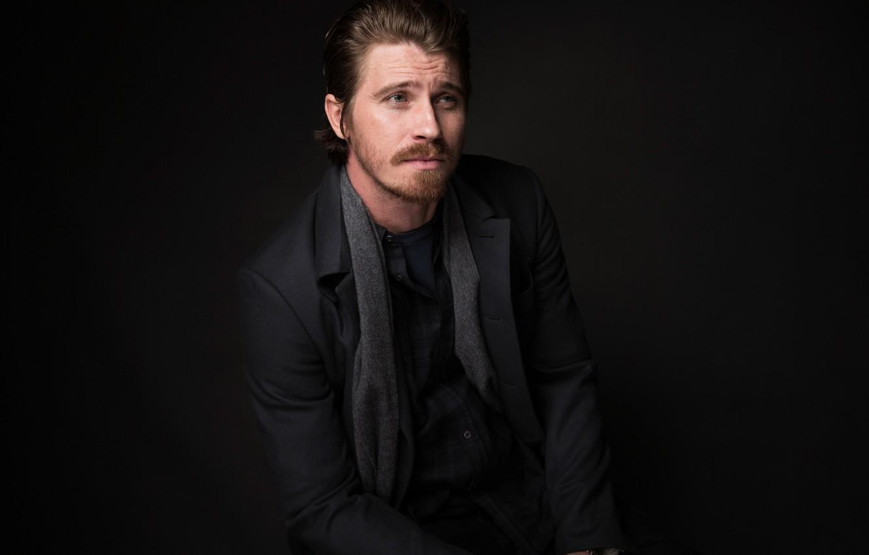 Photo wallpaper portrait, scarf, actor, black background, jacket, photoshoot, Garrett Hedlund, Garrett Hedlund, Sundance, for the film, …