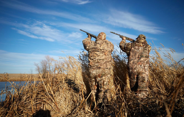 Wallpaper ducks, hunters, hunting