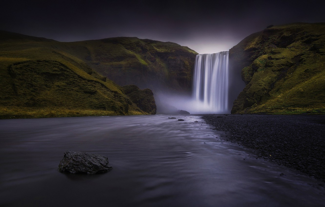 Photo wallpaper river, rocks, waterfall, Iceland