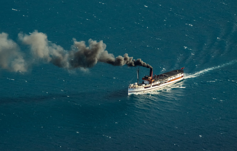 Photo wallpaper smoke, New Zealand, steam, water, Queenstown, ship, Lake Wakatipu, steamship, South Island, coal, 1912, Edwardian, …