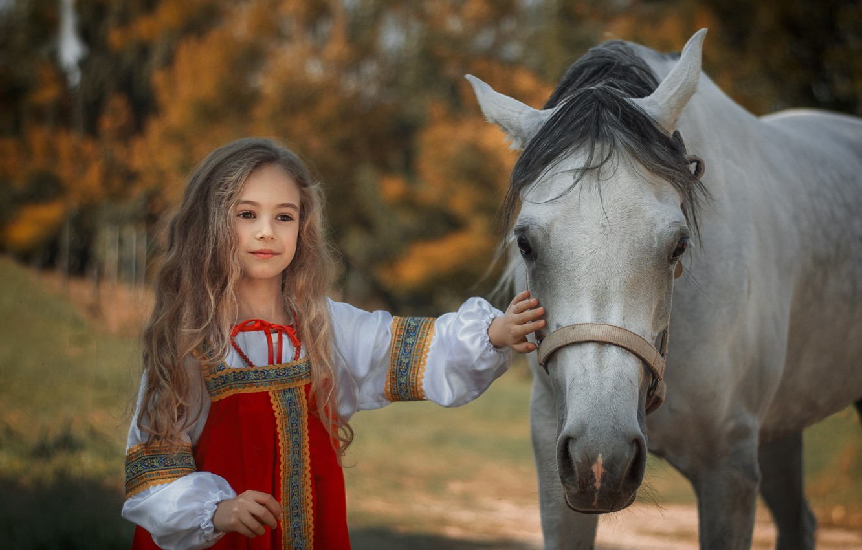 Photo wallpaper mood, horse, horse, girl, long hair, sundress