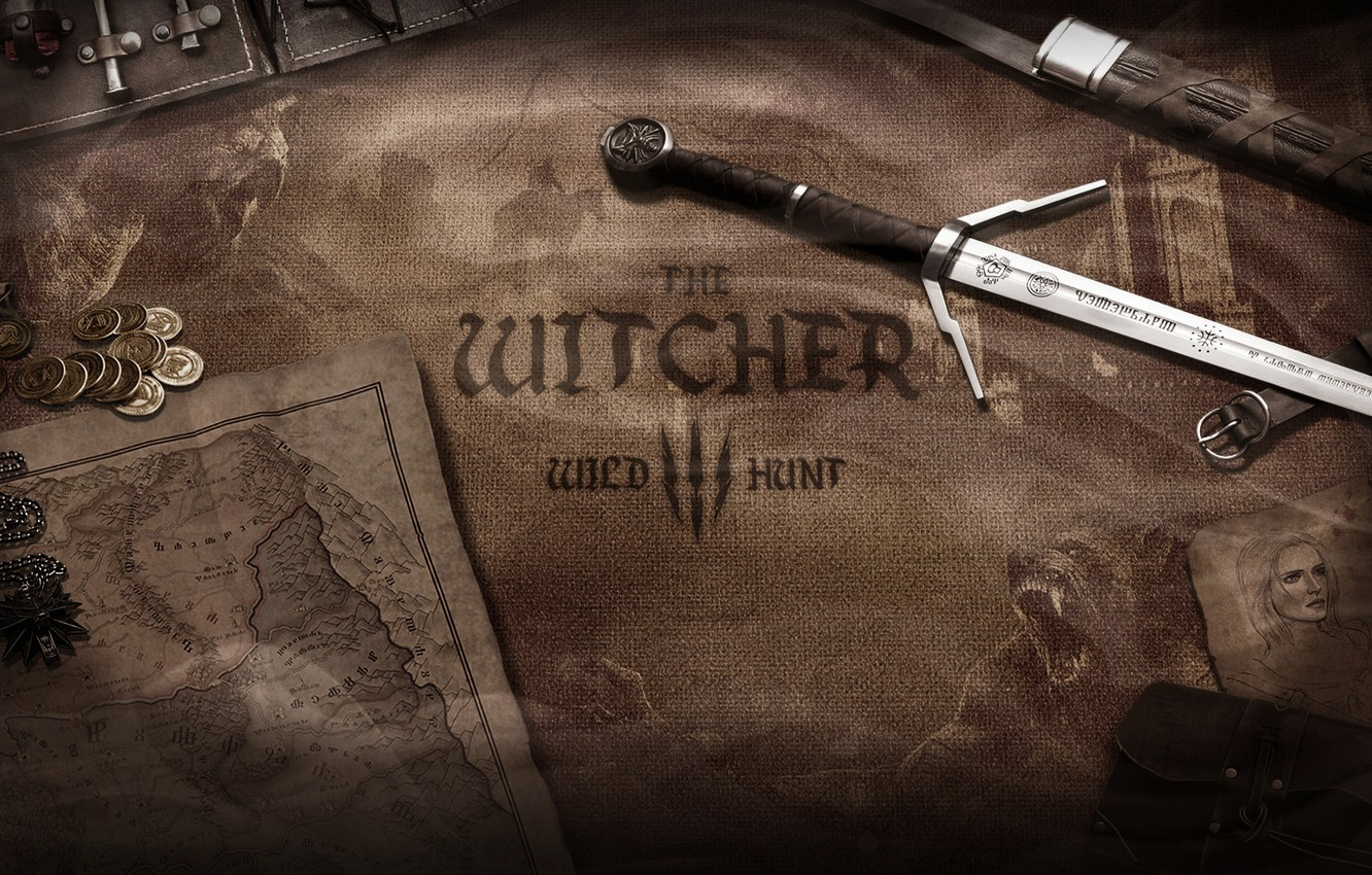 Photo wallpaper weapons, world map, the Witcher, the Witcher 3 wild hunt, money, cirilla, coins, Witcher 3, ...