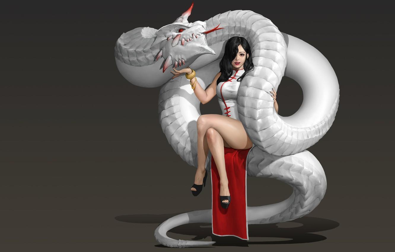 Photo wallpaper girl, dragon, art, fantasy, Hwan (煥), The Red Horn