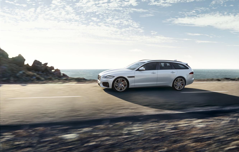 Photo wallpaper road, white, the sky, clouds, movement, Jaguar, universal, XF Sportbrake 25d AWD