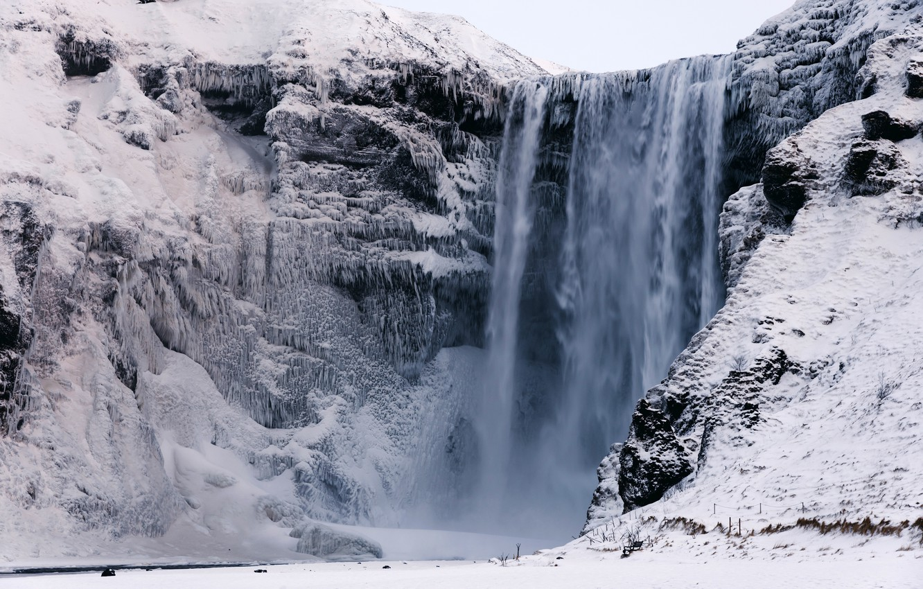 Photo wallpaper winter, snow, rock, waterfall, icicles, Iceland