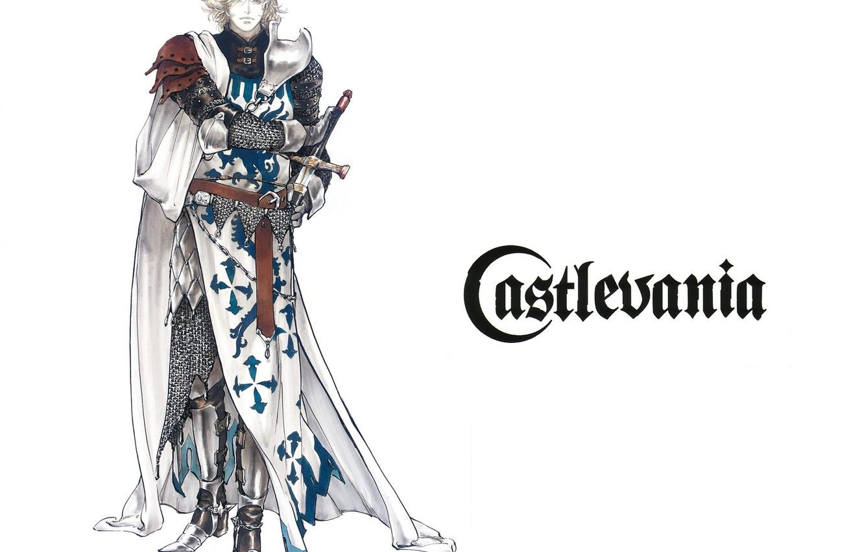 Photo wallpaper sword, armor, vampire, knight, cloak, mail, art, castlevania, Crusader, ayami kojima, leon belmont