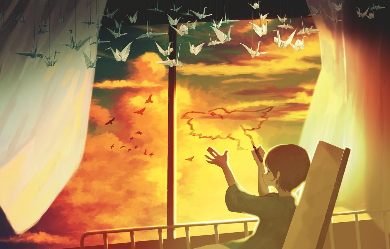 Photo wallpaper the sky, birds, boy, hospital, origami