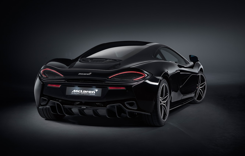 Photo wallpaper McLaren, rear view, 2018, MSO, 570GT, Black Collection