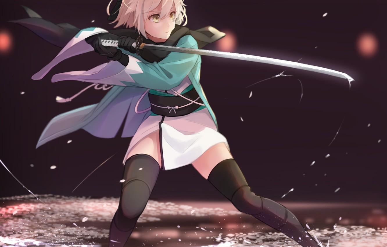 Photo wallpaper girl, sword, game, anime, katana, ken, blade, blonde, warrior, manga, japanese, kimono, bishojo, Fate Grand …