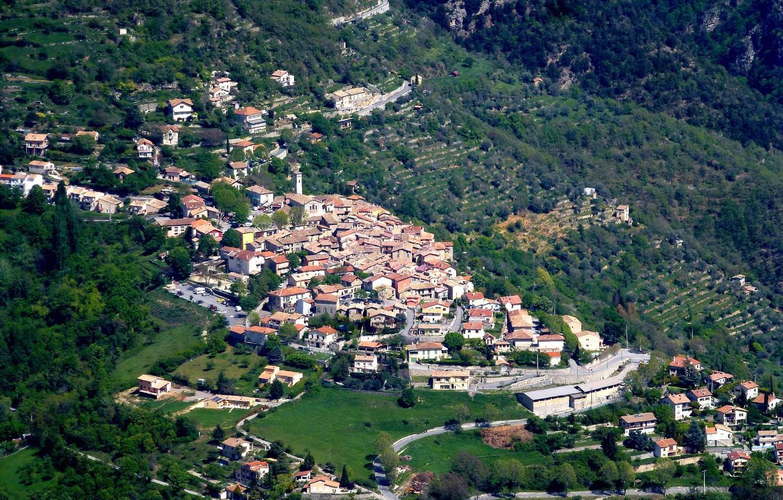 Photo wallpaper landscape, mountains, France, home, village, Clan
