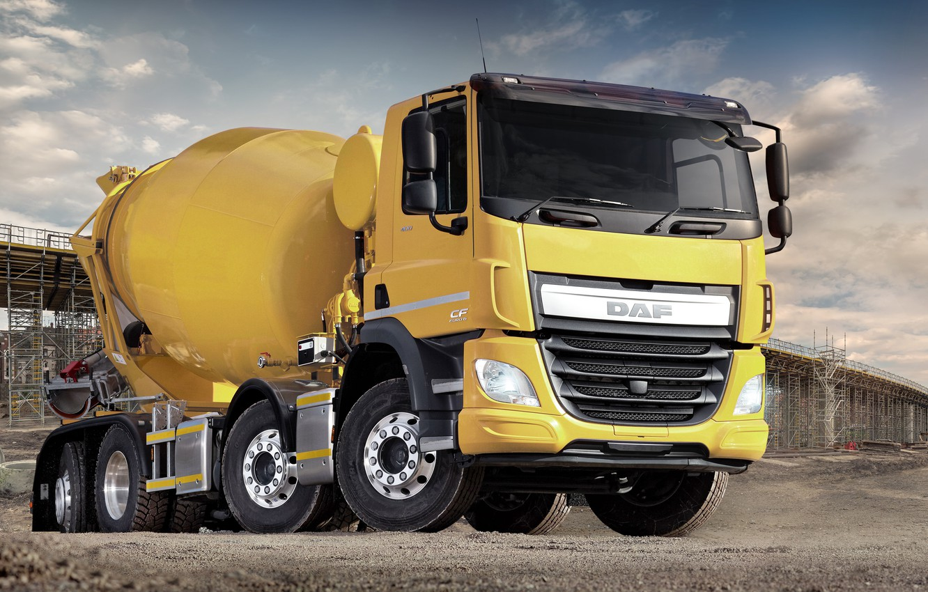 Photo wallpaper yellow, construction, DAF, DAF, 2016, platform, concrete mixer, Euro6, DAF CF 400 FAX, 8x2, three …