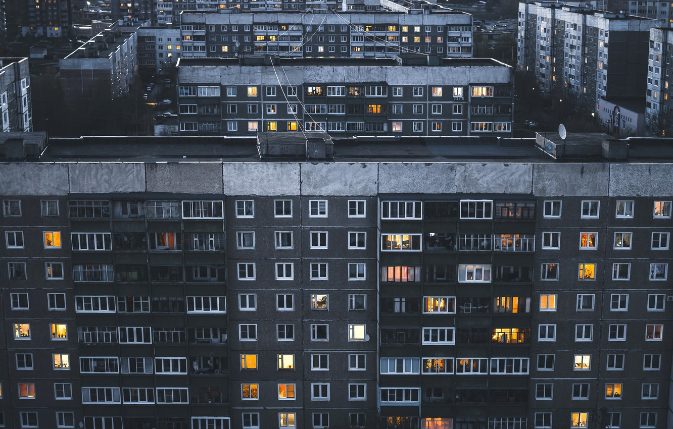 Photo wallpaper Home, The evening, The city, Roof, Windows, District